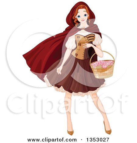 Clipart of a Woman, Red Riding Hood, Carrying a Basket - Royalty Free Vector Illustration by Pushkin