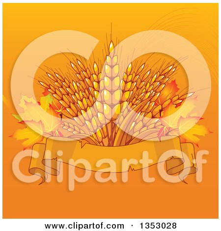 Clipart of a Background of Wheat with Autumn Leaves over a Blank Ribbon Banner on Orange - Royalty Free Vector Illustration by Pushkin