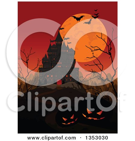 Clipart of a Creepy Haunted Halloween Castle with an Orange Sky, Full Moon, Mountains, Jackolantern Pumpkins, Bare Trees and Flying Bats - Royalty Free Vector Illustration by Pushkin