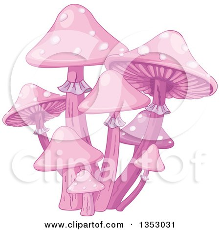 Clipart of a Patch of Pink Magic Mushrooms - Royalty Free Vector Illustration by Pushkin