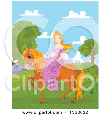 Clipart Of A Red Haired Princess Riding A Brown Horse Against Mountains Royalty Free Vector Illustration