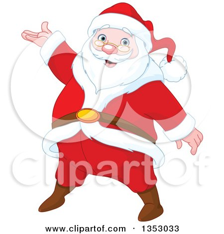 Clipart Of A Cartoon Jolly Christmas Santa Claus Presenting Royalty Free Vector Illustration