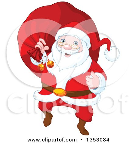 Clipart Of A Cartoon Jolly Christmas Santa Claus Carrying A Sack Royalty Free Vector Illustration