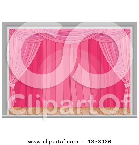 Clipart of a Stage with Pink Curtains and a Spotlight - Royalty Free Vector Illustration by Pushkin