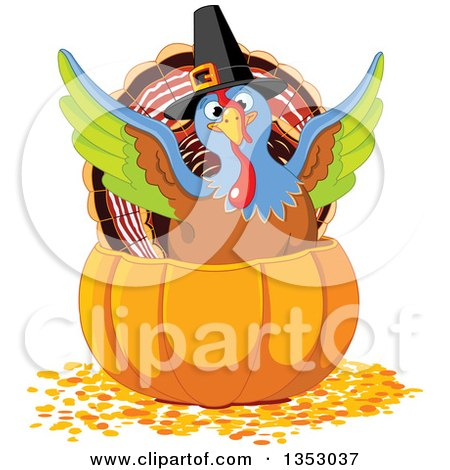 Clipart of a Cute Thanksgiving Turkey Bird Pilgrim Flapping His Wings in a Pumpkin - Royalty Free Vector Illustration by Pushkin