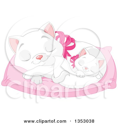 Clipart of a Cute White Kitten Sleeping with Its Mother on a Cat Bed Pillow - Royalty Free Vector Illustration by Pushkin