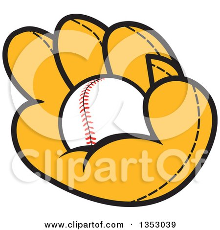 Clipart of a Cartoon Baseball in a Glove - Royalty Free Vector Illustration by Johnny Sajem