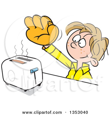 Clipart of a Cartoon Dirty Blond White Boy Wearing a Baseball Glove to Catch Toast from a Toaster - Royalty Free Vector Illustration by Johnny Sajem