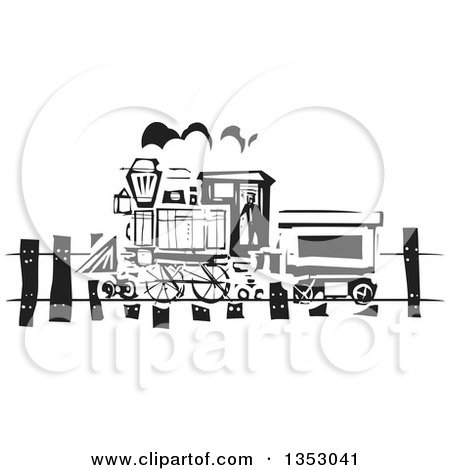 Clipart Of A Black And White Woodcut Train On A Rail Road Royalty Free Vector Illustration