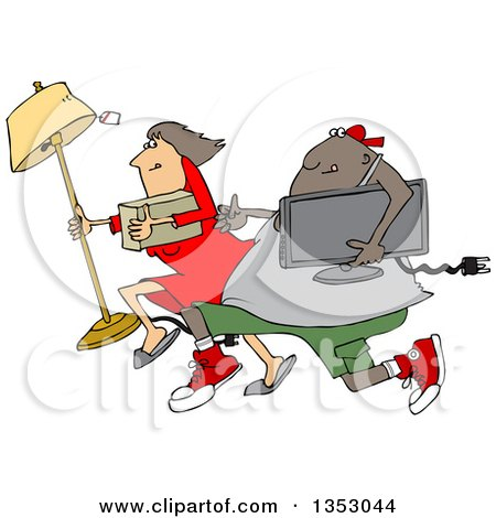 Clipart of a Cartoon Chubby Black Juvenile Deliquent Man and White Woman Looting and Running with Stolen Items - Royalty Free Vector Illustration by djart