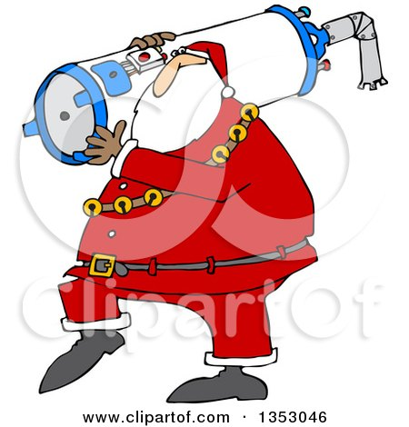 Clipart Of A Cartoon Christmas Santa Carrying A Water Heater Royalty Free Vector Illustration