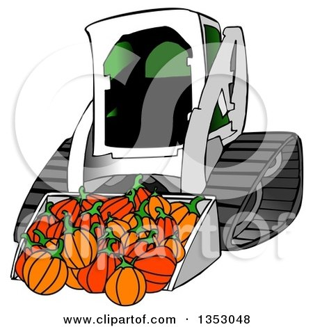 Clipart of a Bobcat Skid Steer Loader with Halloween Pumpkins in the Bucket - Royalty Free Illustration by djart