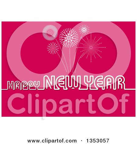 Clipart of a Happy New Year Greeting over a Pink Firework Background - Royalty Free Vector Illustration by dero