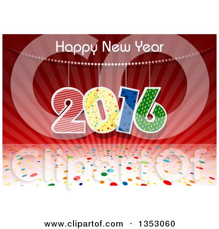 clipart of a happy new year 2016 greeting banner over red rays and colorful polka dots royalty free vector illustration by dero