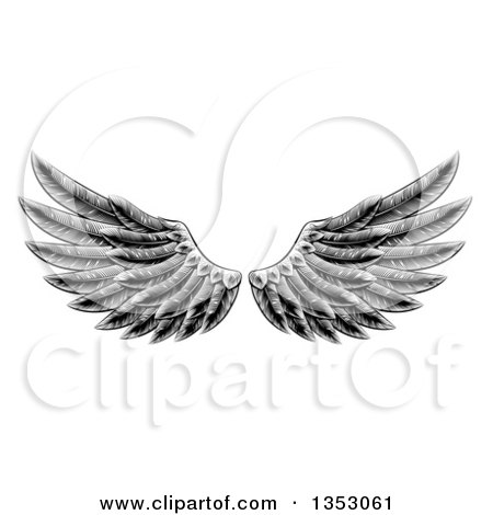 Clipart of a Black and White Engraved Woodcut Feathered Wings - Royalty Free Vector Illustration by AtStockIllustration
