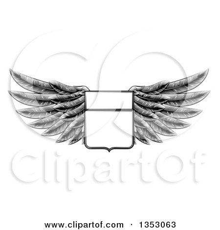 Clipart of a Black and White Engraved Woodcut Winged Shield Insignia - Royalty Free Vector Illustration by AtStockIllustration