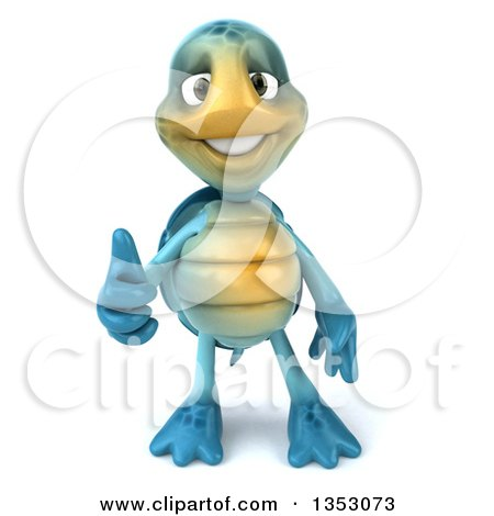 Clipart of a 3d Blue Tortoise Giving a Thumb Up, on a White Background - Royalty Free Vector Illustration by Julos