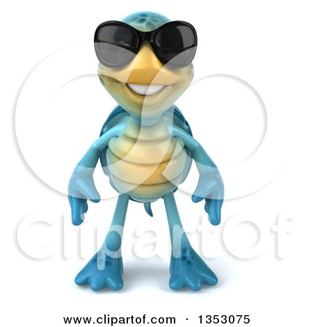 Clipart of a 3d Blue Tortoise Wearing Sunglasses, on a White Background - Royalty Free Vector Illustration by Julos