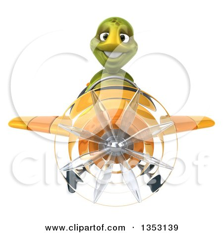 Clipart of a 3d Tortoise Aviatior Pilot Flying a Yellow Airplane, on a White Background - Royalty Free Vector Illustration by Julos
