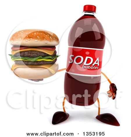 Clipart of a 3d Soda Bottle Character Holding a Double Cheeseburger, on a White Background - Royalty Free Vector Illustration by Julos