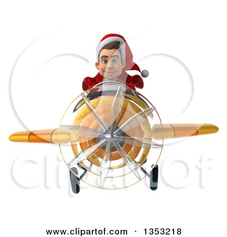 Clipart of a 3d Young White Male Super Hero Santa Aviator Pilot Flying a Yellow Airplane, on a White Background - Royalty Free Illustration by Julos