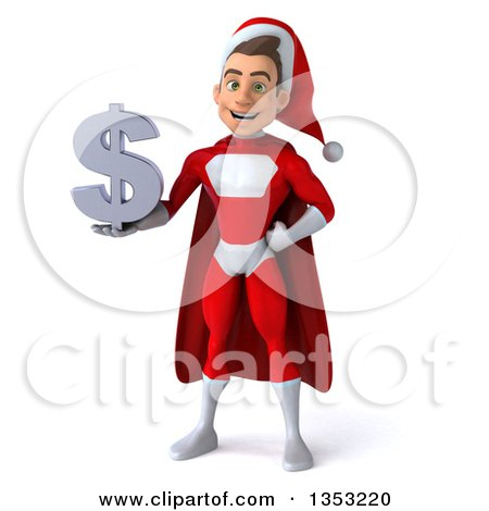 Clipart of a 3d Young White Male Super Hero Santa Holding a Dollar Currency Symbol, on a White Background - Royalty Free Illustration by Julos