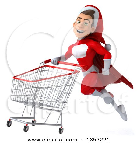 Clipart of a 3d Young White Male Super Hero Santa Flying with a Shopping Cart, on a White Background - Royalty Free Illustration by Julos