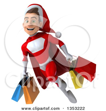Clipart of a 3d Young White Male Super Hero Santa Holding Shopping Bags and Flying, on a White Background - Royalty Free Illustration by Julos