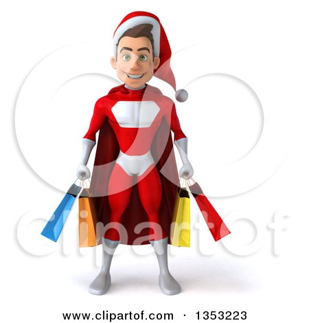 Clipart of a 3d Young White Male Super Hero Santa Holding Shopping Bags, on a White Background - Royalty Free Illustration by Julos