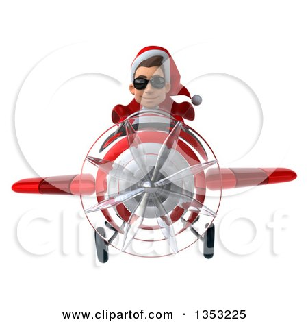 Clipart of a 3d Young White Male Super Hero Santa Aviator Pilot Wearing Sunglasses and Flying a Red Airplane, on a White Background - Royalty Free Illustration by Julos