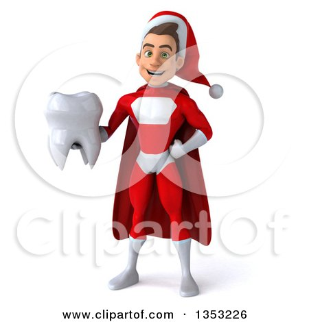 Clipart of a 3d Young White Male Super Hero Santa Holding a Tooth, on a White Background - Royalty Free Illustration by Julos