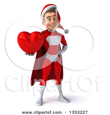 Clipart of a 3d Young White Male Super Hero Santa Holding a Love Heart, on a White Background - Royalty Free Illustration by Julos