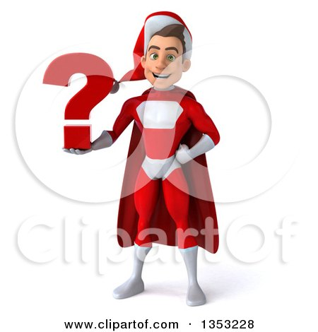 Clipart of a 3d Young White Male Super Hero Santa Holding a Question Mark, on a White Background - Royalty Free Illustration by Julos