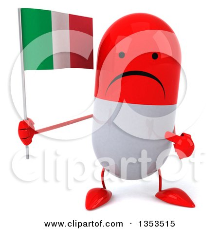 Clipart of a 3d Unhappy Red and White Pill Character Holding and Pointing to an Italian Flag, on a White Background - Royalty Free Vector Illustration by Julos