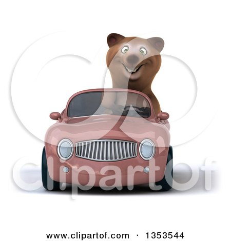 Clipart of a 3d Brown Bear Driving a Pink Convertible Car, on a White Background - Royalty Free Vector Illustration by Julos
