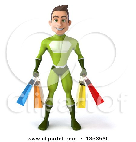 Clipart of a 3d Young White Male Super Hero in a Green Suit, Holding Shopping Bags, on a White Background - Royalty Free Illustration by Julos