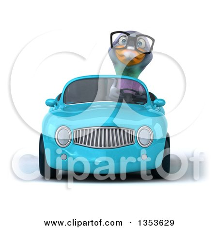Clipart of a 3d Bespectacled Pigeon Driving a Yellow Convertible Car, on a White Background - Royalty Free Vector Illustration by Julos