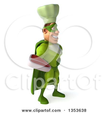Clipart of a 3d Green Caucasian Male Super Chef Holding a Beef Steak, on a White Background - Royalty Free Illustration by Julos