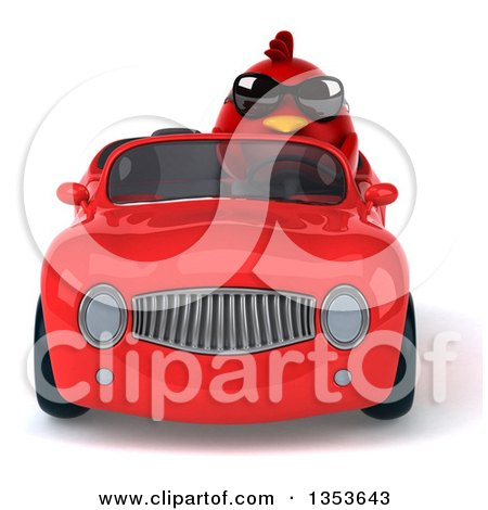 Clipart of a 3d Chubby Red Bird Wearing Sunglasses and Driving a Convertible Car, on a White Background - Royalty Free Vector Illustration by Julos