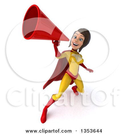 Clipart of a 3d Brunette White Female Super Hero in a Yellow and Red Suit, Using a Megaphone, on a White Background - Royalty Free Illustration by Julos