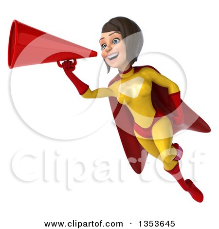 Clipart of a 3d Brunette White Female Super Hero in a Yellow and Red Suit, Flying and Using a Megaphone, on a White Background - Royalty Free Illustration by Julos