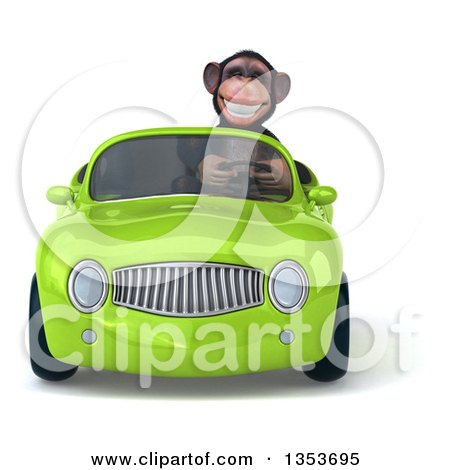 Clipart of a 3d Chimpanzee Monkey Driving a Green Convertible Car, on a White Background - Royalty Free Vector Illustration by Julos