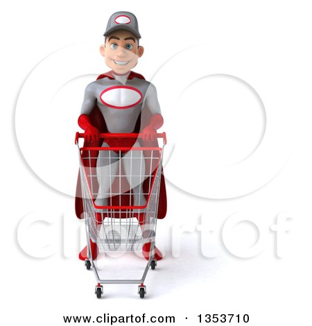 Clipart of a 3d Young White Male Super Hero Mechanic in Gray and Red, Standing with a Shopping Cart, on a White Background - Royalty Free Illustration by Julos