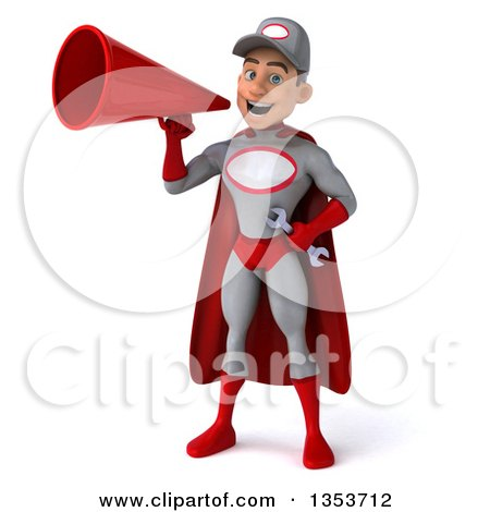 Clipart of a 3d Young White Male Super Hero Mechanic in Gray and Red, Using a Megaphone and Flying, on a White Background - Royalty Free Illustration by Julos