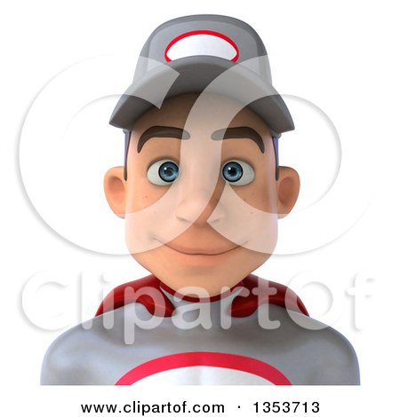 Clipart of a 3d Avatar of a Young White Male Super Hero Mechanic in Gray and Red, on a White Background - Royalty Free Illustration by Julos