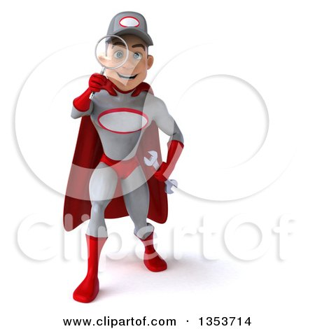 Clipart of a 3d Young White Male Super Hero Mechanic in Gray and Red, Searching with a Magnifying Glass, on a White Background - Royalty Free Illustration by Julos