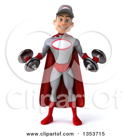 Clipart of a 3d Young White Male Super Hero Mechanic in Gray and Red, Working Out, Doing Bicep Curls with Dumbbells, on a White Background - Royalty Free Illustration by Julos