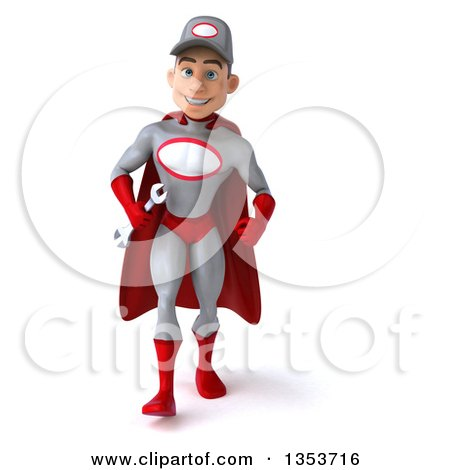 Clipart of a 3d Young White Male Super Hero Mechanic in Gray and Red, Holding a Wrench and Walking, on a White Background - Royalty Free Illustration by Julos