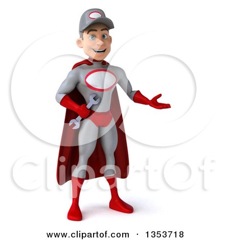 Clipart of a 3d Young White Male Super Hero Mechanic in Gray and Red, Presenting, on a White Background - Royalty Free Illustration by Julos