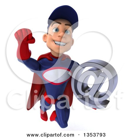 Clipart of a 3d Young White Male Super Hero Mechanic in Red and Dark Blue, Holding an Email Arobase at Symbol and Flying, on a White Background - Royalty Free Illustration by Julos